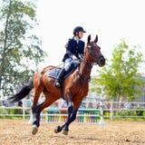 De sportvrouw op een rood paard. Stock Afbeeldingen