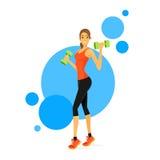 De sportvrouw toont Bicep-Spierenfitness Trainer stock illustratie