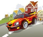 De sportwagen die in de voorsteden van de stad rennen - illustratie voor de kinderen Royalty-vrije Stock Afbeelding