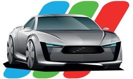 De sportwagen van het concept op witte achtergrond Stock Afbeelding