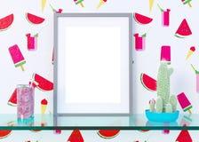 De spot op affichekader op de binnenlandse achtergrond van het de zomerconcept, 3D illustratie, geeft terug Stock Afbeelding
