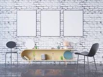 De spot op affichekader op de binnenlandse 3D achtergrond van het huisbureau, geeft, 3D illustratie terug Royalty-vrije Stock Foto's