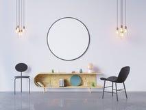 De spot op affichekader op de binnenlandse 3D achtergrond van het huisbureau, geeft, 3D illustratie terug Royalty-vrije Stock Fotografie