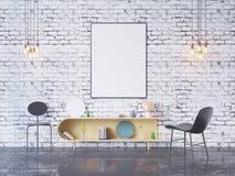 De spot op affichekader op de binnenlandse 3D achtergrond van het huisbureau, geeft, 3D illustratie terug Stock Foto's