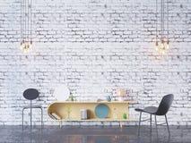 De spot op affichekader op de binnenlandse 3D achtergrond van het huisbureau, geeft, 3D illustratie terug Royalty-vrije Stock Afbeelding