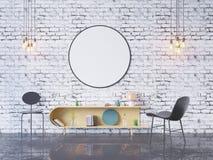 De spot op affichekader op de binnenlandse 3D achtergrond van het huisbureau, geeft, 3D illustratie terug Stock Afbeelding