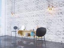 De spot op affichekader op de binnenlandse 3D achtergrond van het huisbureau, geeft, 3D illustratie terug Stock Foto
