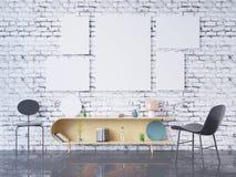 De spot op affichekader op de binnenlandse 3D achtergrond van het huisbureau, geeft, 3D illustratie terug Royalty-vrije Stock Afbeeldingen