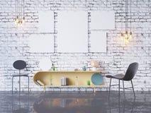 De spot op affichekader op de binnenlandse 3D achtergrond van het huisbureau, geeft, 3D illustratie terug Stock Afbeeldingen