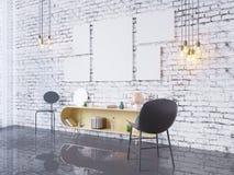 De spot op affichekader op de binnenlandse 3D achtergrond van het huisbureau, geeft, 3D illustratie terug Stock Fotografie