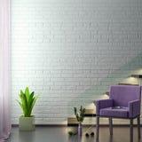 De spot op affichekader op hipster binnenlandse achtergrond in roze 3D kleuren en bakstenen muur, geeft, 3D illustratie terug Stock Foto's