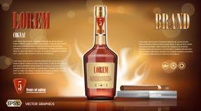 De Spot van de cognacfles omhoog Stock Foto's