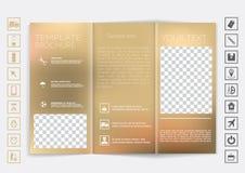De spot van de Trifoldbrochure op vectorontwerp Vlot unfocused bokeh achtergrond Royalty-vrije Stock Foto