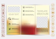 De spot van de Trifoldbrochure op vectorontwerp Vlot unfocused bokeh achtergrond Royalty-vrije Stock Afbeelding