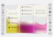 De spot van de Trifoldbrochure op vectorontwerp Vlot unfocused bokeh achtergrond Royalty-vrije Stock Fotografie