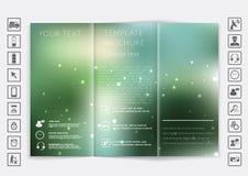 De spot van de Trifoldbrochure op vectorontwerp Vlot unfocused bokeh achtergrond Royalty-vrije Stock Foto's