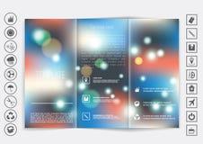 De spot van de Trifoldbrochure op vectorontwerp Vlot unfocused bokeh achtergrond Stock Foto's
