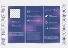 De spot van de Trifoldbrochure op vectorontwerp Vlot unfocused bokeh achtergrond Royalty-vrije Stock Afbeeldingen