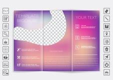 De spot van de Trifoldbrochure op vectorontwerp Vlot unfocused bokeh achtergrond Stock Afbeeldingen