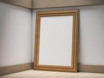 De spot van het affichekader op malplaatje op vloer 3d Royalty-vrije Stock Foto
