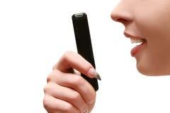 De spreker van vrouwen op de telefoon Stock Foto's