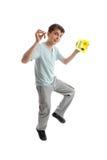 De springende mannelijke Platen van L van de tienerAandrijving royalty-vrije stock afbeeldingen