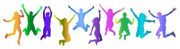 De springende mensen overbevolken silhouet de kleurrijke gradiënt, plaatste Vector illustratie vector illustratie