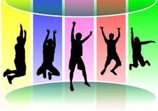 De springende mensen silhouetteren stock fotografie