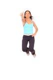 De springende sportvrouw van aa Stock Foto
