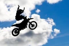 De sprong van de motocross stock foto