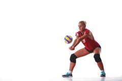 De sprong van de volleyballvrouw Stock Fotografie