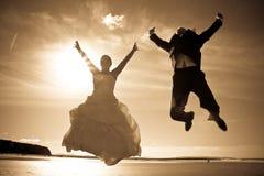 De sprong van het geluk Stock Foto's