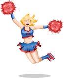 De Sprongen van Cheerleader in de Lucht Stock Foto's