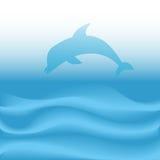 De Sprongen van de dolfijn duikt op Abstracte Blauwe OceaanGolven Royalty-vrije Stock Afbeelding