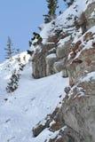 De sprongen van de skiër in Def. IFSA Freeskiing Royalty-vrije Stock Afbeeldingen