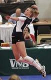 De sprongklap van het volleyball Stock Foto's