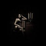 De spruit van de manier van een jonge en sexy vrouw in lingerie Stock Fotografie