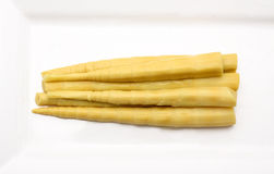 De spruit van het bamboe op witte achtergrond. Royalty-vrije Stock Foto's
