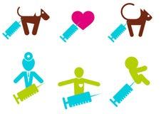 De spuit themed pictogrammen Stock Afbeelding