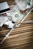 De spuit van de drug en gekookte heroïne Stock Foto's