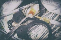 De spuit van de drug en gekookte heroïne Royalty-vrije Stock Afbeelding