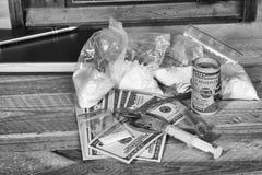 De spuit van de drug en gekookte heroïne Royalty-vrije Stock Foto