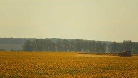 De spuitbus verwerkt de helianthusaanplanting van de pesticideaanplanting, omhoog sluit stock video