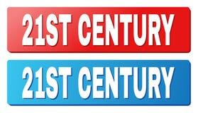 de 21ST EEUWtekst op Blauwe en Rode Rechthoekknopen stock illustratie
