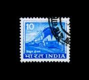 de 1st elektrische locomotief maakte in India, Lokale Motieven serie, circa 1976 Stock Foto
