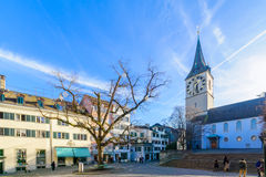 De St Peter kerk, Zürich Stock Fotografie
