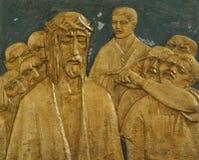 de 1st Post van het Kruis, wordt Jesus veroordeeld aan dood Royalty-vrije Stock Fotografie