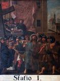 de 1st Posten van het Kruis, Jesus wordt veroordeeld aan dood Stock Foto