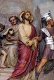 de 1st Posten van het Kruis, Jesus wordt veroordeeld aan dood stock afbeelding