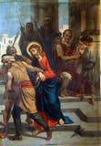de 1st Posten van het Kruis, Jesus wordt veroordeeld aan dood Royalty-vrije Stock Afbeeldingen